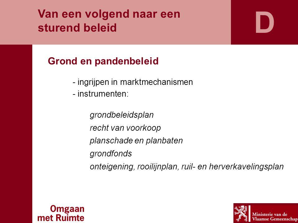 Grond en pandenbeleid Van een volgend naar een sturend beleid - ingrijpen in marktmechanismen - instrumenten: grondbeleidsplan recht van voorkoop plan