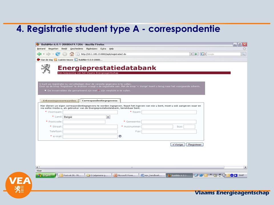4. Registratie student type A - correspondentie