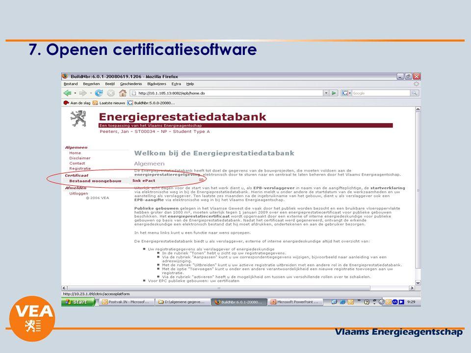 7. Openen certificatiesoftware