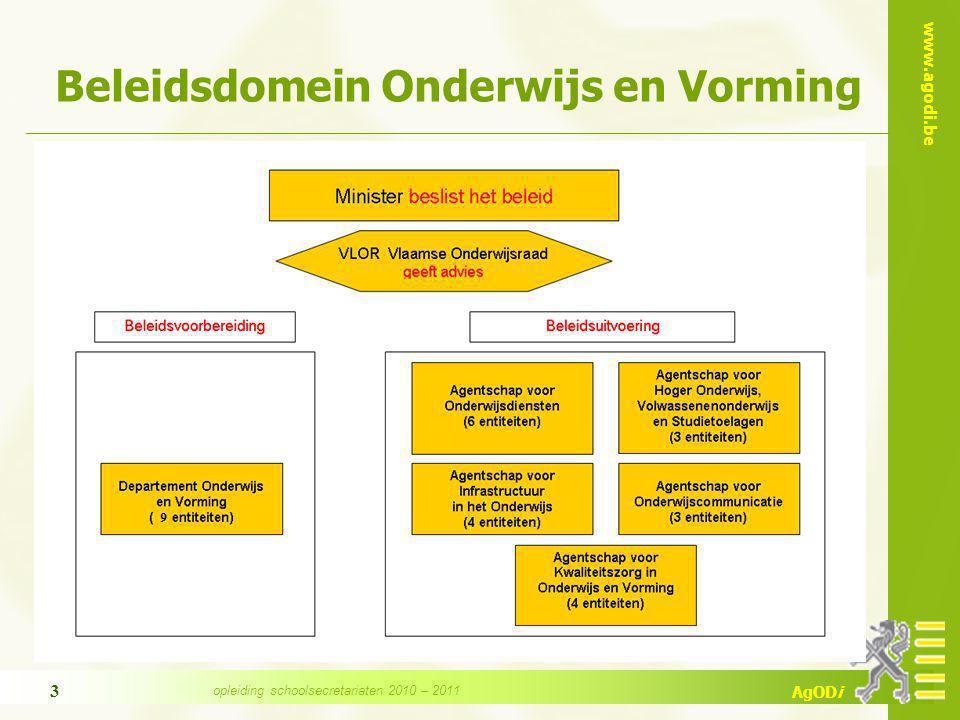 www.agodi.be AgODi opleiding schoolsecretariaten 2010 – 2011 3 Beleidsdomein Onderwijs en Vorming