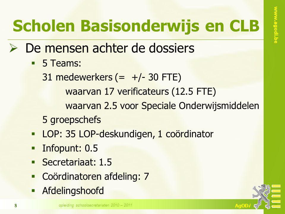 www.agodi.be AgODi opleiding schoolsecretariaten 2010 – 2011 9 Personeel Basisonderwijs en CLB Beleidsuitvoering m.b.t.