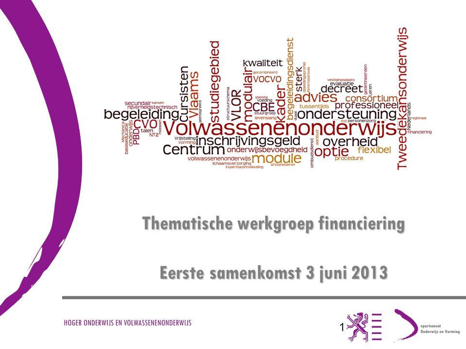 1 Thematische werkgroep financiering Eerste samenkomst 3 juni 2013