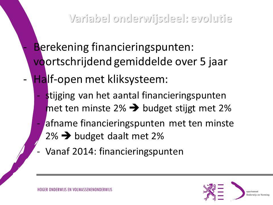 Variabel onderwijsdeel: evolutie -Berekening financieringspunten: voortschrijdend gemiddelde over 5 jaar -Half-open met kliksysteem: -stijging van het