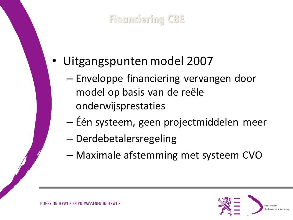 Financiering CBE Uitgangspunten model 2007 – Enveloppe financiering vervangen door model op basis van de reële onderwijsprestaties – Één systeem, geen projectmiddelen meer – Derdebetalersregeling – Maximale afstemming met systeem CVO