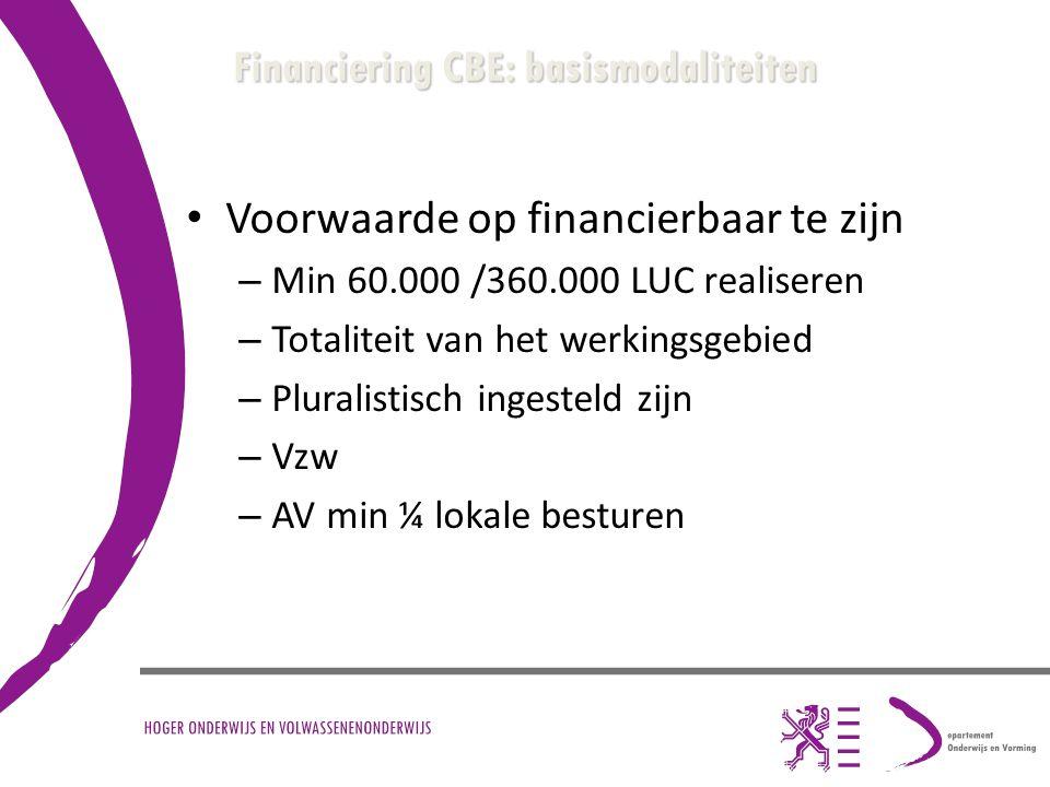 Financiering CBE: basismodaliteiten Voorwaarde op financierbaar te zijn – Min 60.000 /360.000 LUC realiseren – Totaliteit van het werkingsgebied – Plu