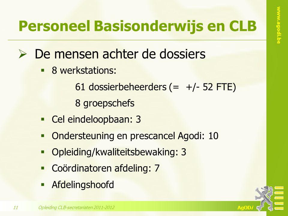 www.agodi.be AgODi Personeel Basisonderwijs en CLB  De mensen achter de dossiers  8 werkstations: 61 dossierbeheerders (= +/- 52 FTE) 8 groepschefs