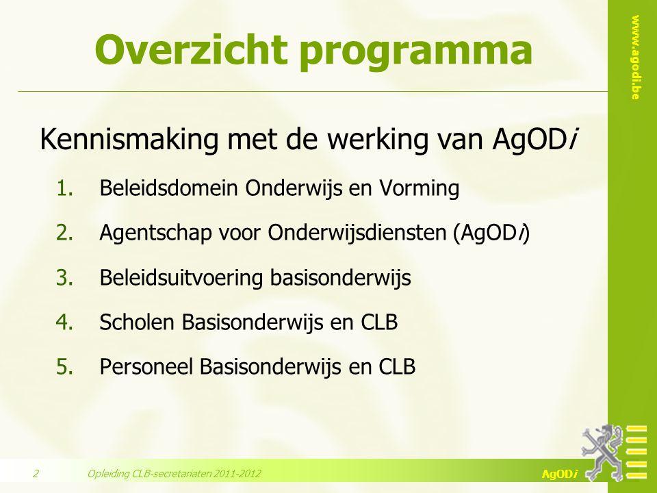 www.agodi.be AgODi Overzicht programma 1.Beleidsdomein Onderwijs en Vorming 2.Agentschap voor Onderwijsdiensten (AgODi) 3.Beleidsuitvoering basisonder