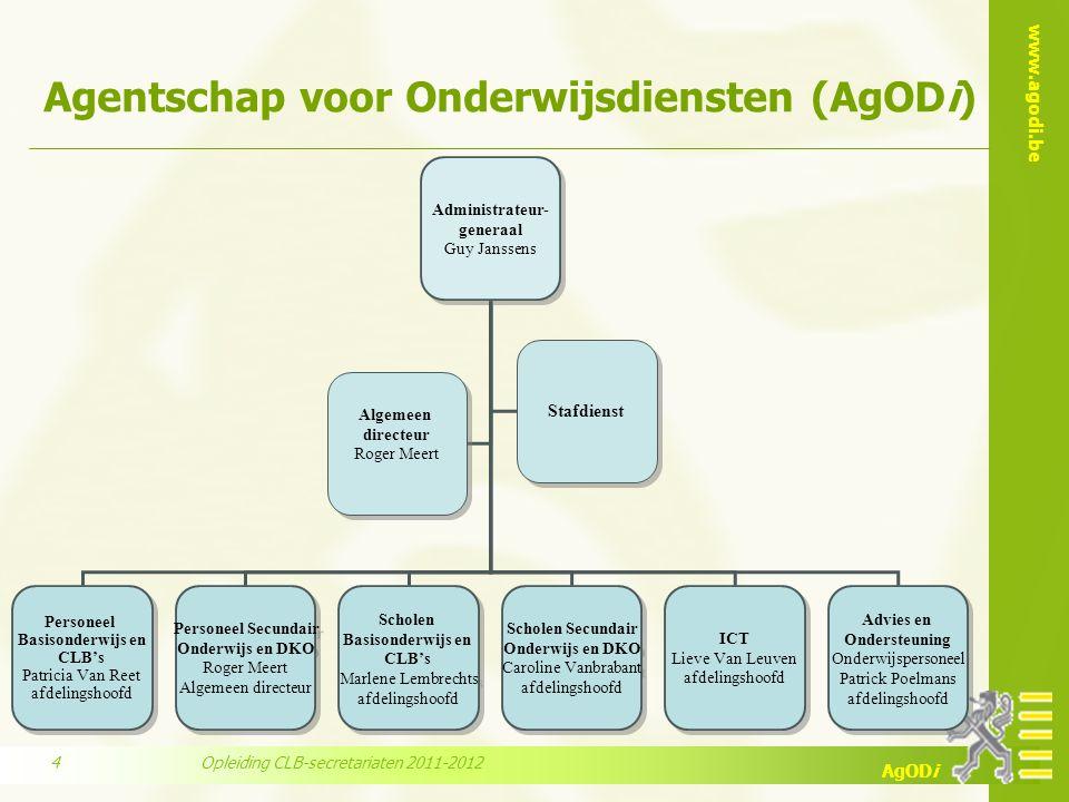 www.agodi.be AgODi Agentschap voor Onderwijsdiensten (AgODi) Administrateur- generaal Guy Janssens Administrateur- generaal Guy Janssens Personeel Bas