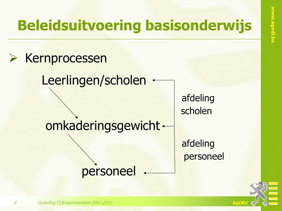 www.agodi.be AgODi Beleidsuitvoering basisonderwijs  Kernprocessen Leerlingen/scholen afdeling scholen omkaderingsgewicht afdeling personeel Opleidin