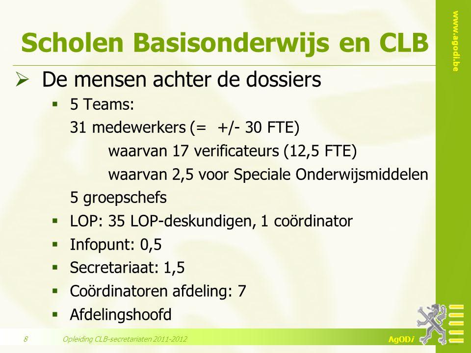 www.agodi.be AgODi Scholen Basisonderwijs en CLB  De mensen achter de dossiers  5 Teams: 31 medewerkers (= +/- 30 FTE) waarvan 17 verificateurs (12,