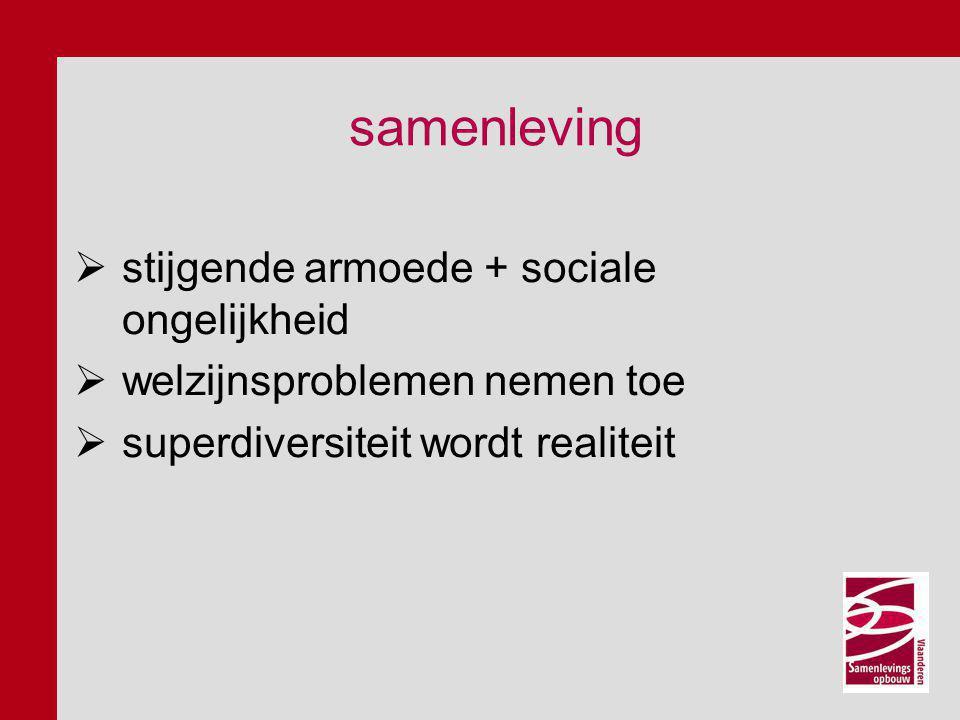 samenleving  stijgende armoede + sociale ongelijkheid  welzijnsproblemen nemen toe  superdiversiteit wordt realiteit