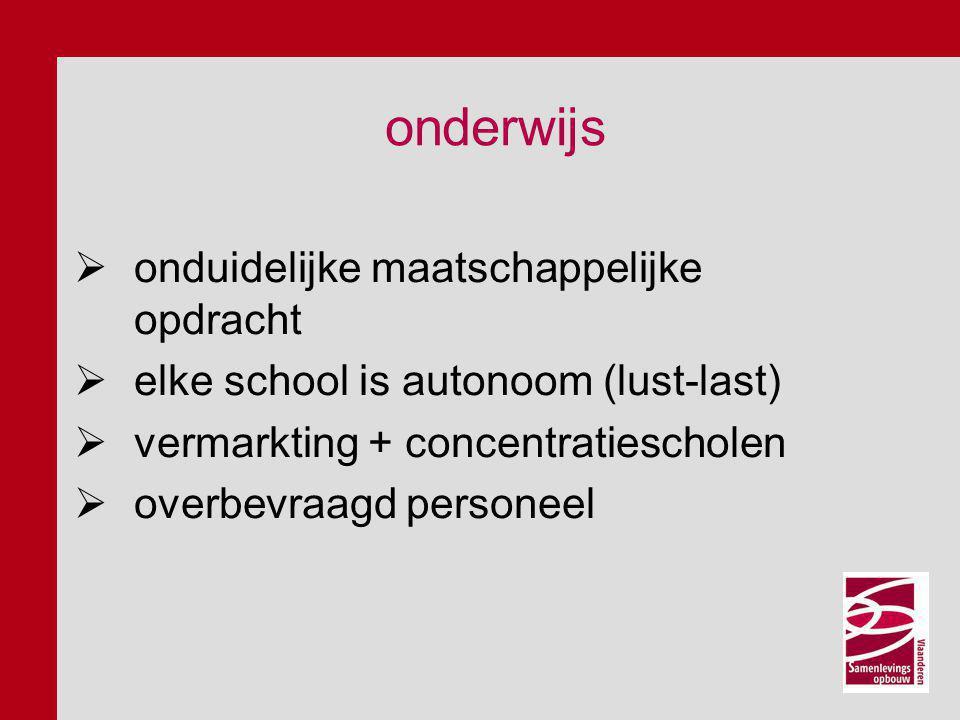 onderwijs  onduidelijke maatschappelijke opdracht  elke school is autonoom (lust-last)  vermarkting + concentratiescholen  overbevraagd personeel