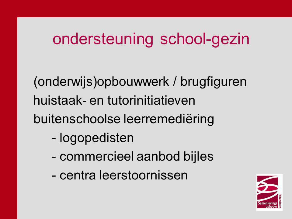 ondersteuning school-gezin (onderwijs)opbouwwerk / brugfiguren huistaak- en tutorinitiatieven buitenschoolse leerremediëring - logopedisten - commerci