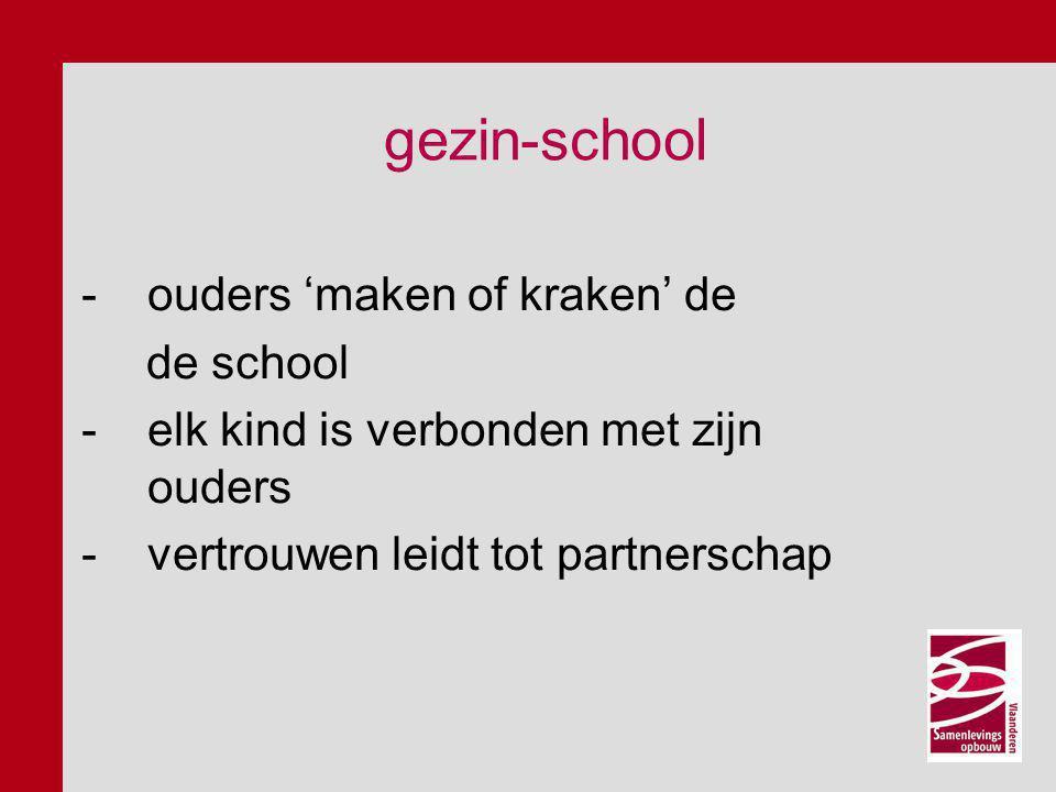 -ouders 'maken of kraken' de de school -elk kind is verbonden met zijn ouders -vertrouwen leidt tot partnerschap gezin-school