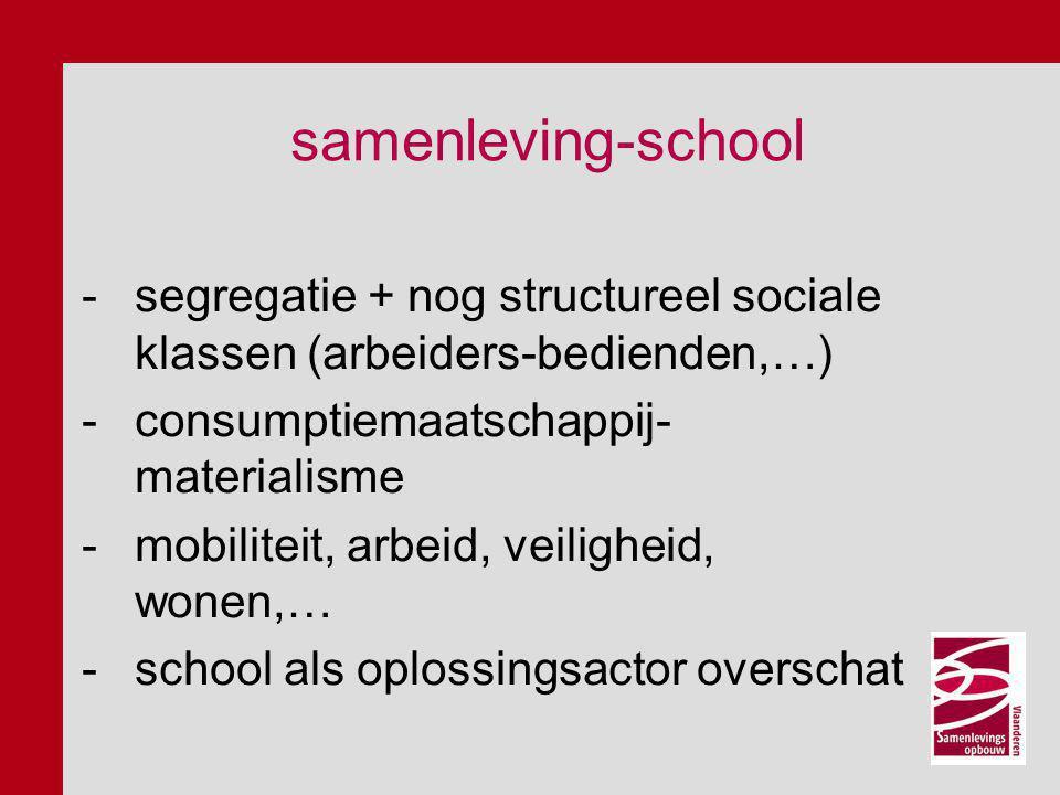 samenleving-school -segregatie + nog structureel sociale klassen (arbeiders-bedienden,…) -consumptiemaatschappij- materialisme -mobiliteit, arbeid, veiligheid, wonen,… -school als oplossingsactor overschat