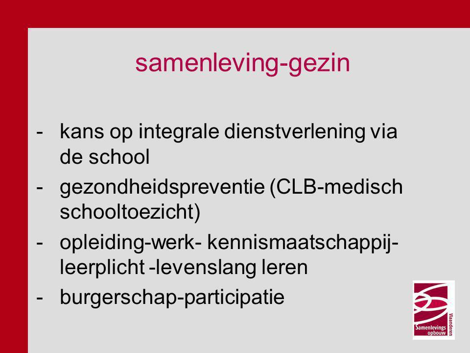 samenleving-gezin -kans op integrale dienstverlening via de school -gezondheidspreventie (CLB-medisch schooltoezicht) -opleiding-werk- kennismaatschap