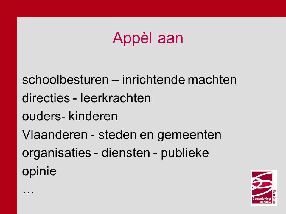 Appèl aan schoolbesturen – inrichtende machten directies - leerkrachten ouders- kinderen Vlaanderen - steden en gemeenten organisaties - diensten - pu