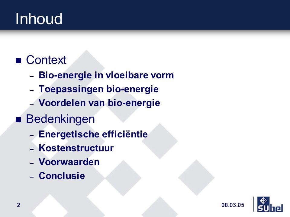 2 Inhoud n Context – Bio-energie in vloeibare vorm – Toepassingen bio-energie – Voordelen van bio-energie n Bedenkingen – Energetische efficiëntie – Kostenstructuur – Voorwaarden – Conclusie