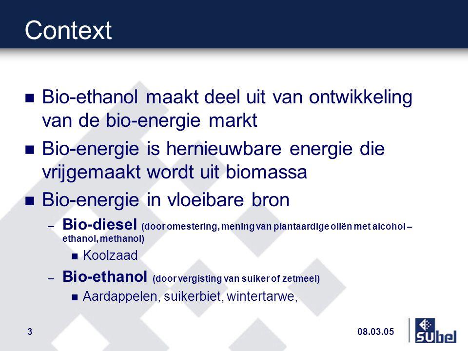 08.03.053 Context n Bio-ethanol maakt deel uit van ontwikkeling van de bio-energie markt n Bio-energie is hernieuwbare energie die vrijgemaakt wordt uit biomassa n Bio-energie in vloeibare bron – Bio-diesel (door omestering, mening van plantaardige oliën met alcohol – ethanol, methanol) n Koolzaad – Bio-ethanol (door vergisting van suiker of zetmeel) n Aardappelen, suikerbiet, wintertarwe,