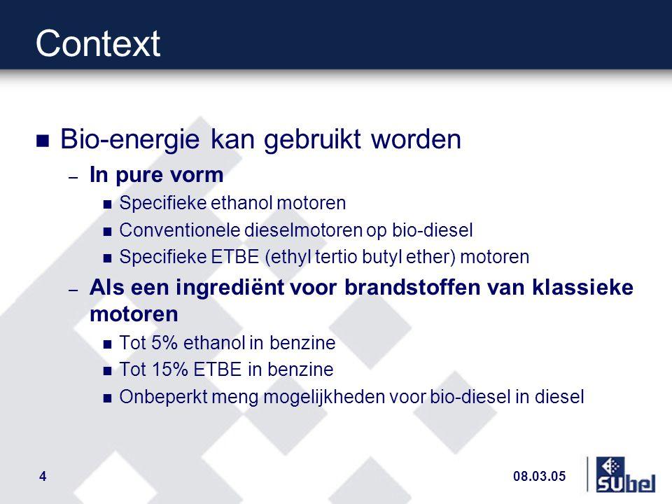 08.03.054 Context n Bio-energie kan gebruikt worden – In pure vorm n Specifieke ethanol motoren n Conventionele dieselmotoren op bio-diesel n Specifieke ETBE (ethyl tertio butyl ether) motoren – Als een ingrediënt voor brandstoffen van klassieke motoren n Tot 5% ethanol in benzine n Tot 15% ETBE in benzine n Onbeperkt meng mogelijkheden voor bio-diesel in diesel