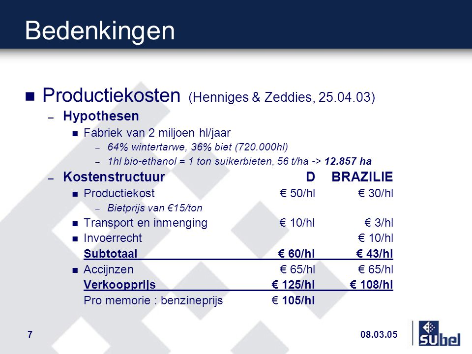 08.03.057 Bedenkingen n Productiekosten (Henniges & Zeddies, 25.04.03) – Hypothesen n Fabriek van 2 miljoen hl/jaar – 64% wintertarwe, 36% biet (720.000hl) – 1hl bio-ethanol = 1 ton suikerbieten, 56 t/ha -> 12.857 ha – KostenstructuurDBRAZILIE n Productiekost € 50/hl € 30/hl – Bietprijs van €15/ton n Transport en inmenging€ 10/hl€ 3/hl n Invoerrecht€ 10/hl Subtotaal € 60/hl€ 43/hl n Accijnzen€ 65/hl € 65/hl Verkoopprijs € 125/hl€ 108/hl Pro memorie : benzineprijs € 105/hl