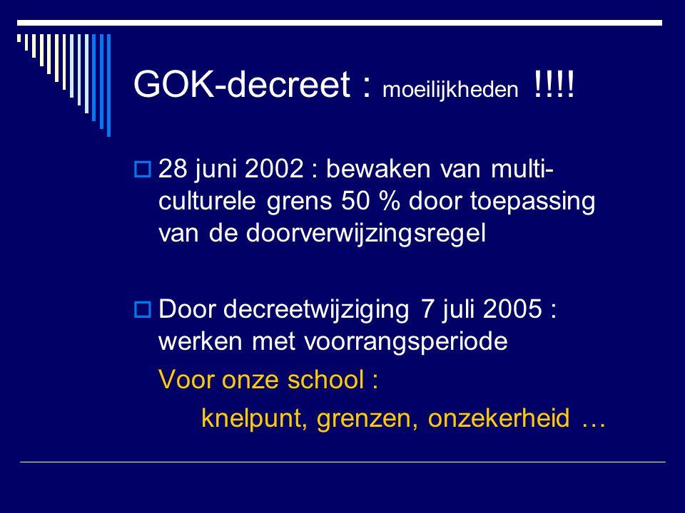 GOK-decreet : moeilijkheden !!!!  28 juni 2002 : bewaken van multi- culturele grens 50 % door toepassing van de doorverwijzingsregel  Door decreetwi