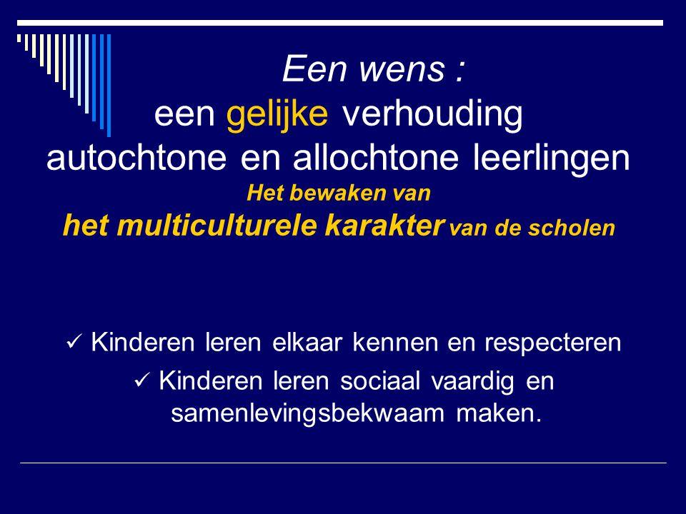 Een wens : een gelijke verhouding autochtone en allochtone leerlingen Het bewaken van het multiculturele karakter van de scholen Kinderen leren elkaar kennen en respecteren Kinderen leren sociaal vaardig en samenlevingsbekwaam maken.