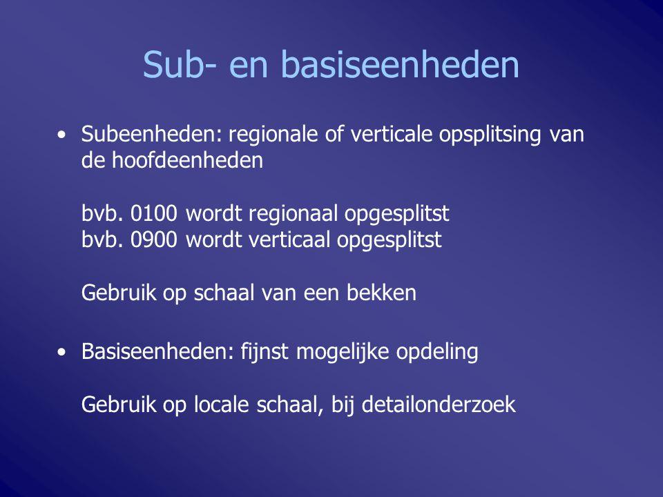 Sub- en basiseenheden Subeenheden: regionale of verticale opsplitsing van de hoofdeenheden bvb. 0100 wordt regionaal opgesplitst bvb. 0900 wordt verti