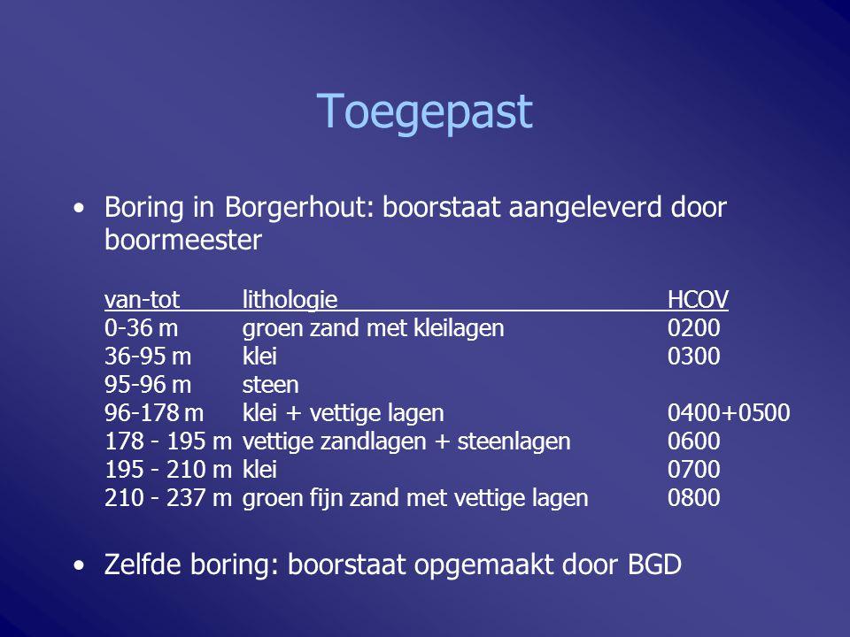 Toegepast Boring in Borgerhout: boorstaat aangeleverd door boormeester van-totlithologieHCOV 0-36 m groen zand met kleilagen0200 36-95 mklei0300 95-96