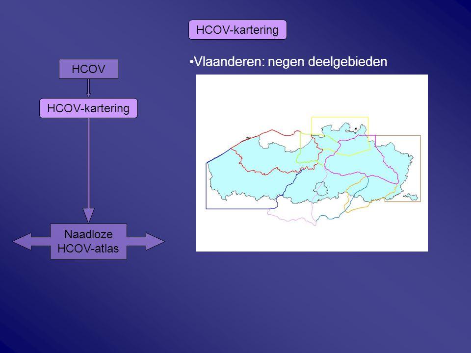Vlaanderen: negen deelgebieden HCOV-kartering HCOV Naadloze HCOV-atlas HCOV-kartering