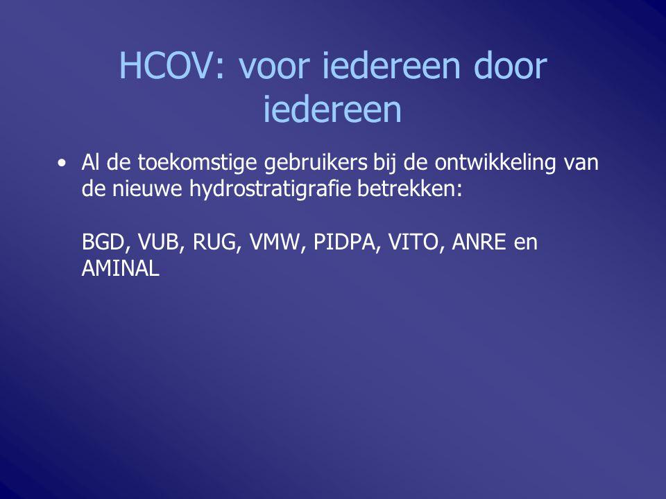 HCOV: voor iedereen door iedereen Al de toekomstige gebruikers bij de ontwikkeling van de nieuwe hydrostratigrafie betrekken: BGD, VUB, RUG, VMW, PIDP