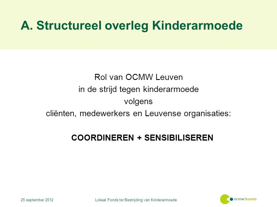 A. Structureel overleg Kinderarmoede Rol van OCMW Leuven in de strijd tegen kinderarmoede volgens cliënten, medewerkers en Leuvense organisaties: COOR