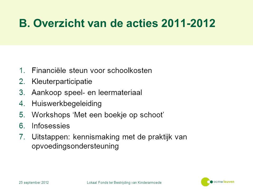 B. Overzicht van de acties 2011-2012 1.Financiële steun voor schoolkosten 2.Kleuterparticipatie 3.Aankoop speel- en leermateriaal 4.Huiswerkbegeleidin