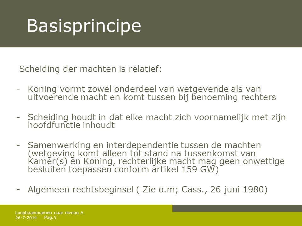 Pag. 26-7-20143 Loopbaanexamen naar niveau A Basisprincipe Scheiding der machten is relatief: -Koning vormt zowel onderdeel van wetgevende als van uit
