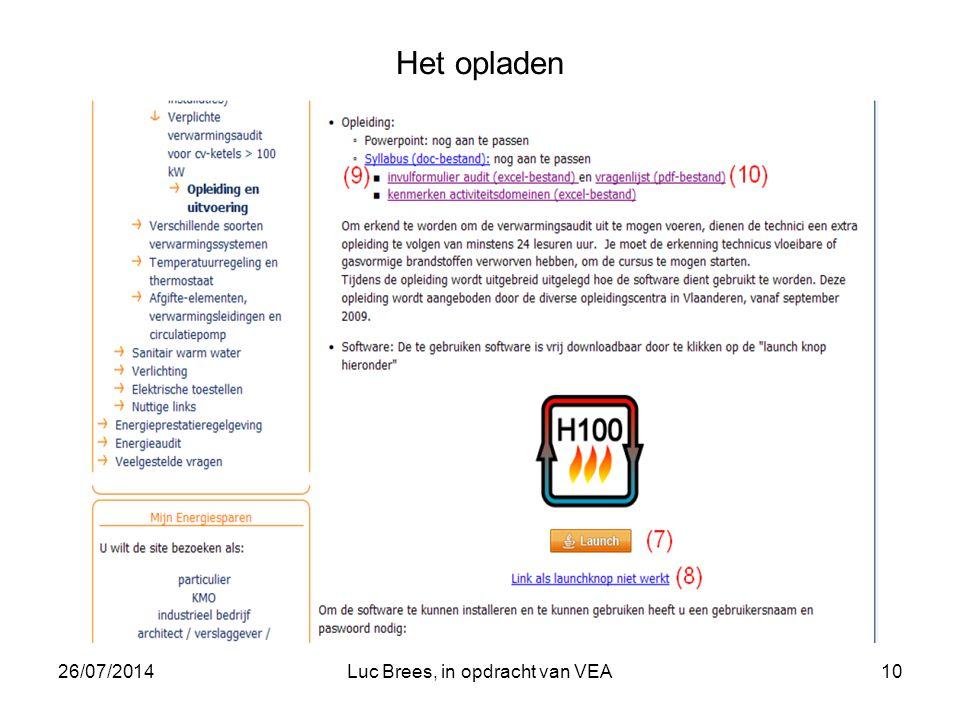 26/07/2014Luc Brees, in opdracht van VEA10 Het opladen