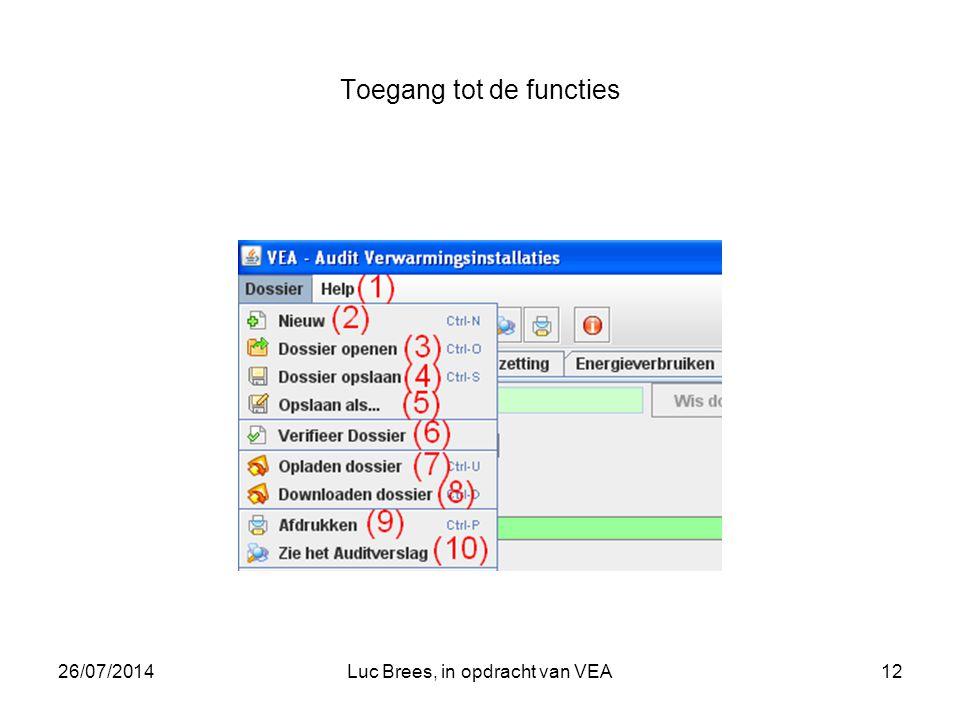 26/07/2014Luc Brees, in opdracht van VEA12 Toegang tot de functies