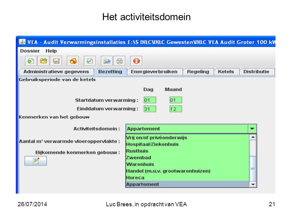 26/07/2014Luc Brees, in opdracht van VEA21 Het activiteitsdomein