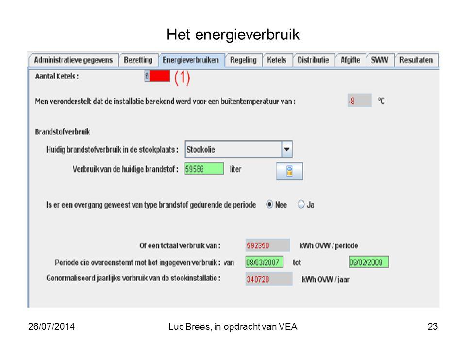 26/07/2014Luc Brees, in opdracht van VEA23 Het energieverbruik