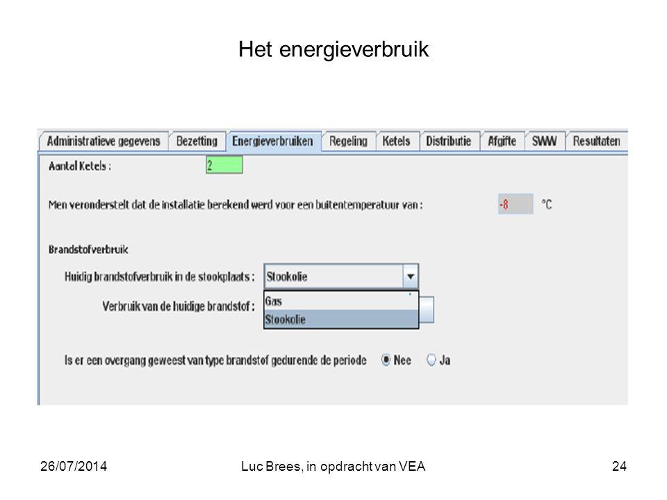 26/07/2014Luc Brees, in opdracht van VEA24 Het energieverbruik