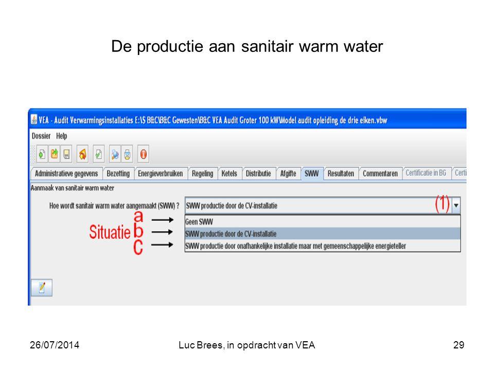 26/07/2014Luc Brees, in opdracht van VEA29 De productie aan sanitair warm water