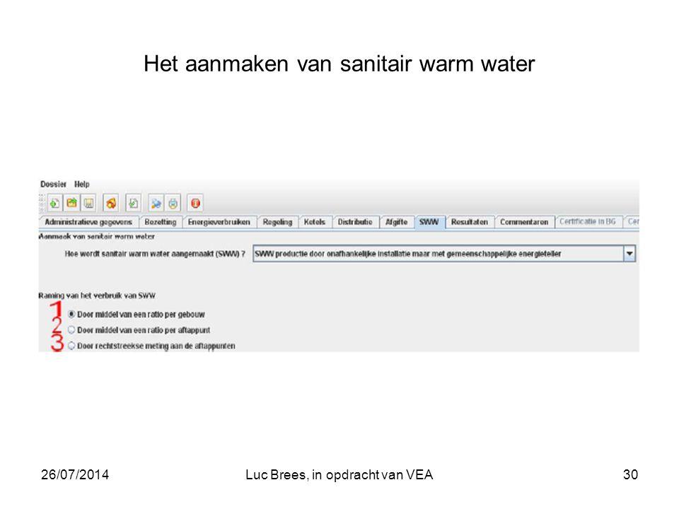 26/07/2014Luc Brees, in opdracht van VEA30 Het aanmaken van sanitair warm water