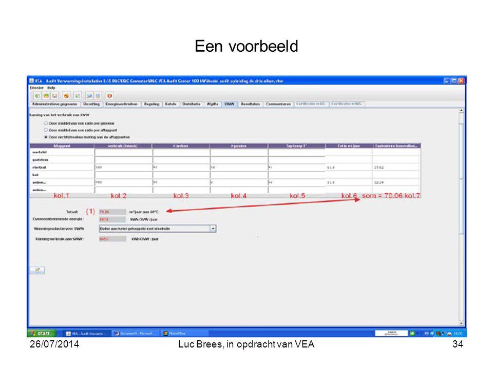 26/07/2014Luc Brees, in opdracht van VEA34 Een voorbeeld