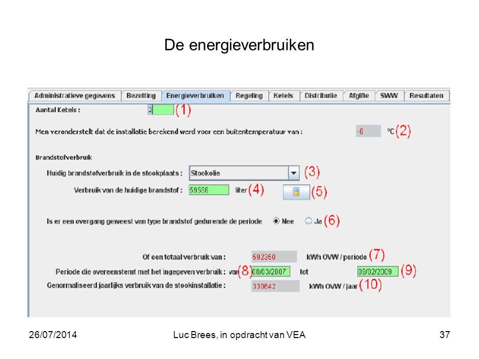 26/07/2014Luc Brees, in opdracht van VEA37 De energieverbruiken