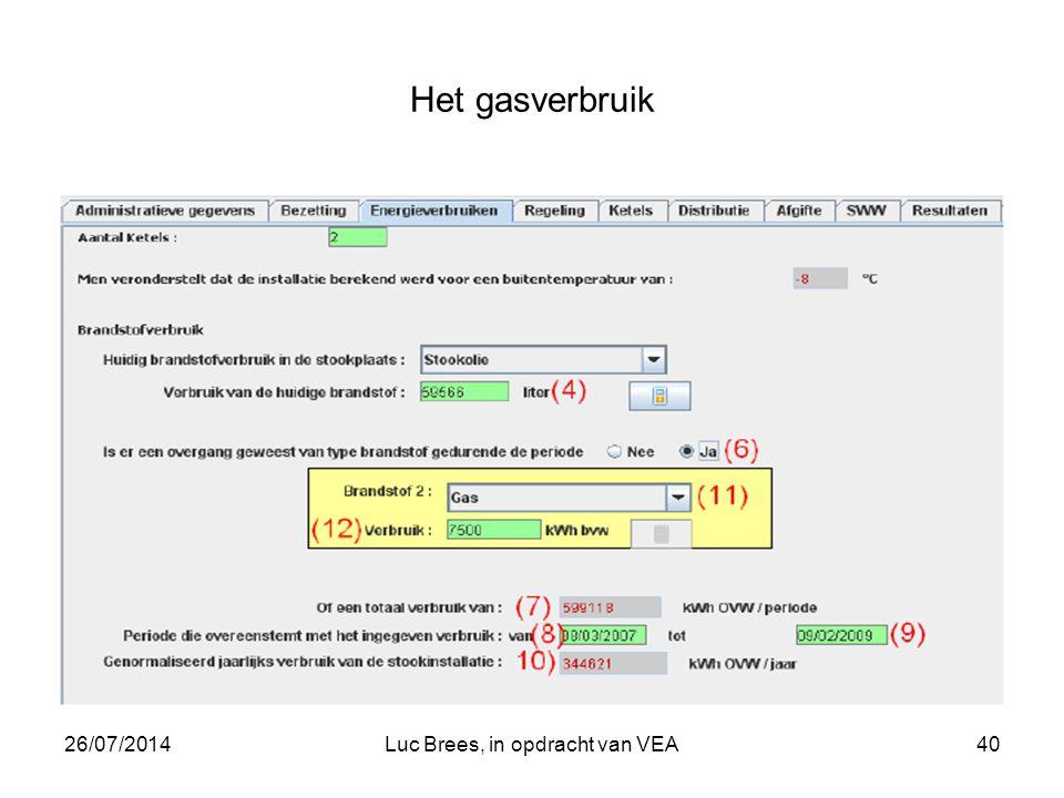 26/07/2014Luc Brees, in opdracht van VEA40 Het gasverbruik