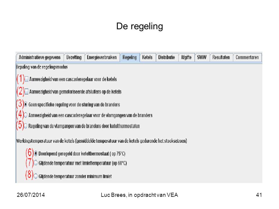 26/07/2014Luc Brees, in opdracht van VEA41 De regeling