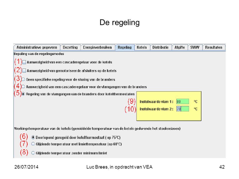 26/07/2014Luc Brees, in opdracht van VEA42 De regeling