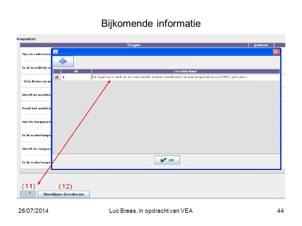 26/07/2014Luc Brees, in opdracht van VEA44 Bijkomende informatie