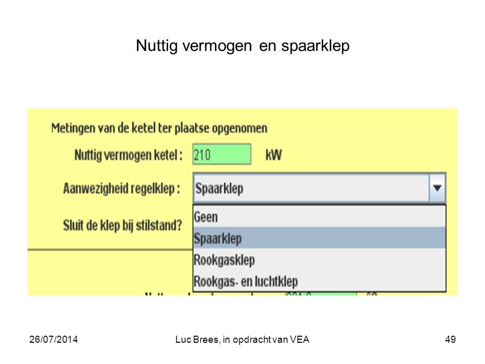 26/07/2014Luc Brees, in opdracht van VEA49 Nuttig vermogen en spaarklep