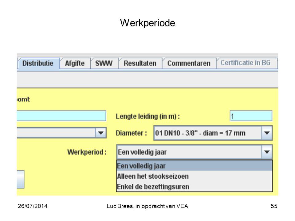 26/07/2014Luc Brees, in opdracht van VEA55 Werkperiode