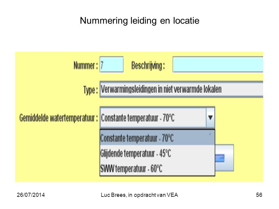 26/07/2014Luc Brees, in opdracht van VEA56 Nummering leiding en locatie
